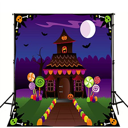 MOHome Polyster Cartoon Candy Land Halloween Photography Backdrop 5x7ft Bright Moon with Black Bat Background Photo Booth Props