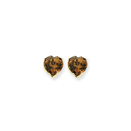14k Yellow Gold 7mm Heart Smokey Quartz Earrings. Gem Wt- 2.2ct
