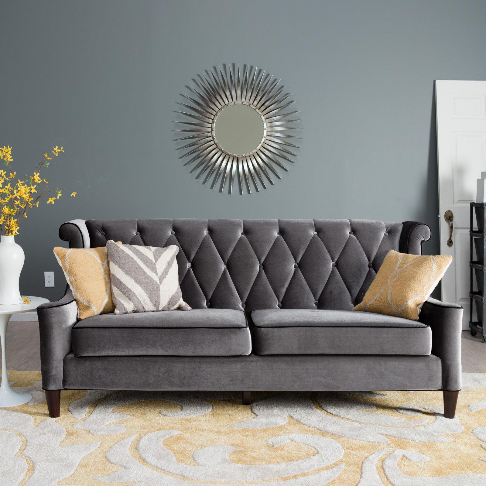 Armen Living Barrister Sofa Gray Velvet With Black Piping Walmart Com