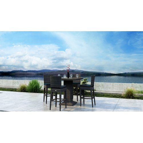 Orren Ellis Gilleland 5 Piece Dining Set with Sunbrella Cushion