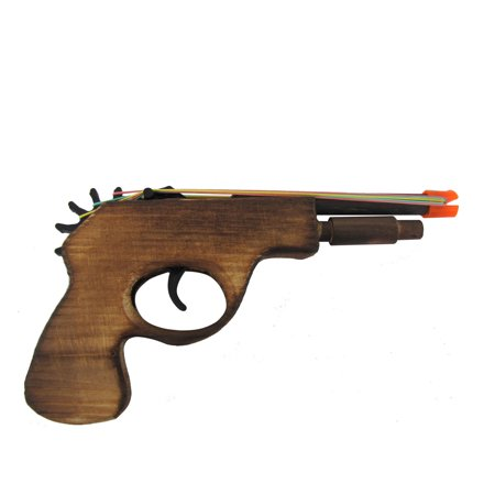 Wooden Rubber Band Toy Gun Multi Shot Elastic Wood Revolver Pistol Six
