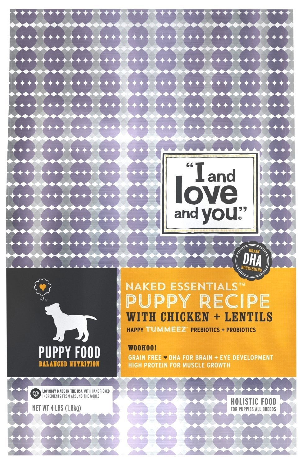 """I and love and you."" Naked Essentials Dry Puppy Food, Grain-Free Chicken & Lentils, 4 Lb by I and Love and You"