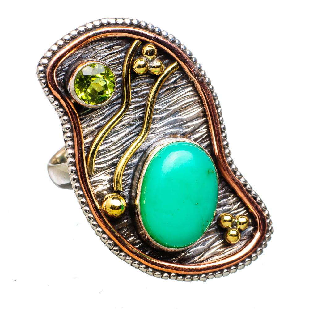 Ana Silver Co Large Chrysoprase, Peridot 925 Sterling Silver Ring Size 6 RING830953 by Ana Silver Co.