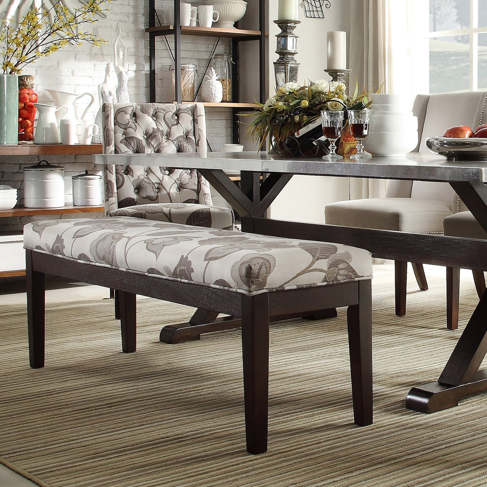 Inspire Q 52 in. Classic Gray Flower with Leaves Bench - Espresso
