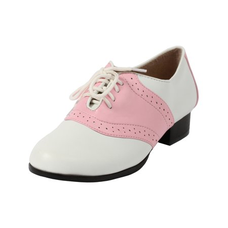 women's oxford saddle shoes lace up front with low heel two tone pink - Pink And White Saddle Shoes