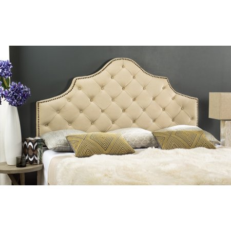 Safavieh Arebelle Rustic Glam Tufted Headboard with Nail Heads ()