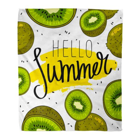 JSDART Throw Blanket Warm Cozy Print Flannel Saying Hello Summer Excellent on Yellow Ink Smear and Juicy Kiwi Fruit in The Comfortable Soft for Bed Sofa and Couch 50x60 Inches - image 1 de 1