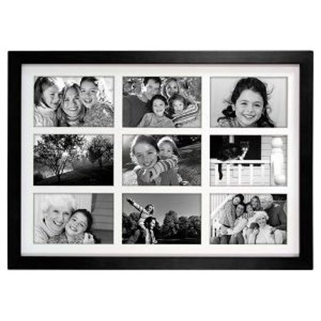 9 Opening 4x6 COLLAGE FRAME LINEAR WALL - Matted Black - Walmart.com