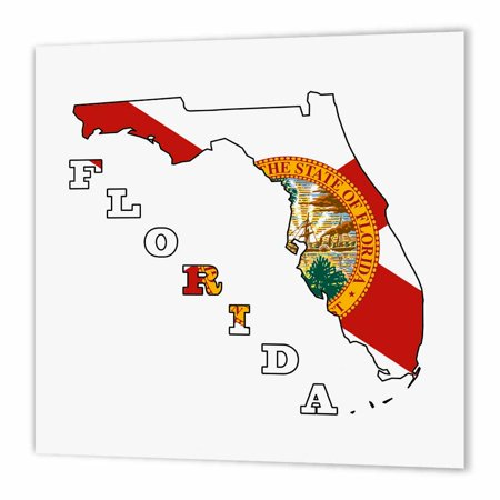 3dRose Florida state flag in the outline map and letters of Florida, Iron On Heat Transfer, 8 by 8-inch, For White Material for $<!---->