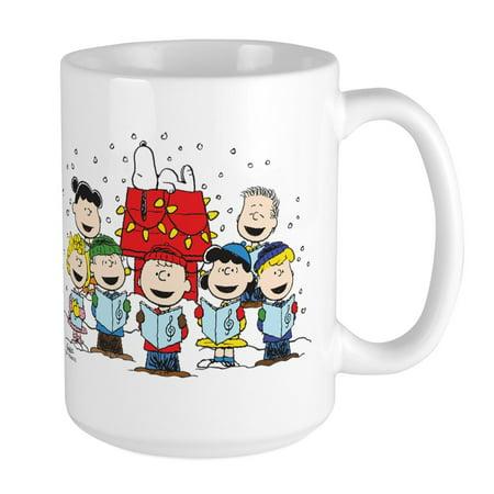 CafePress - Peanuts Gang Christmas - 15 oz Ceramic Large