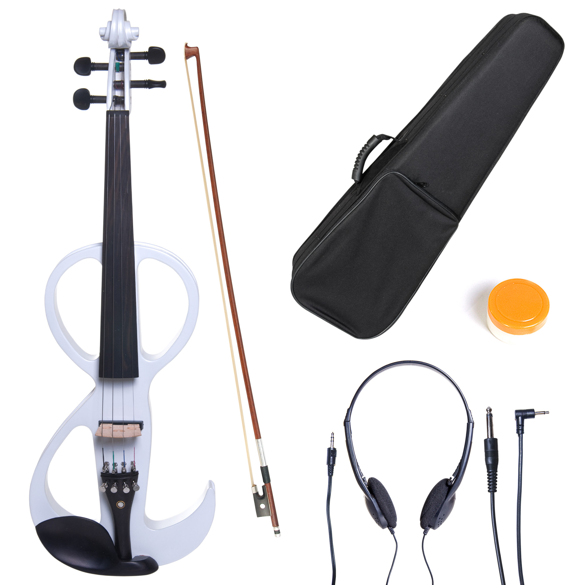 Cecilio 4/4 CEVN-3W Solidwood Pearl White Electric/Silent Violin with Ebony Fittings-Full Size