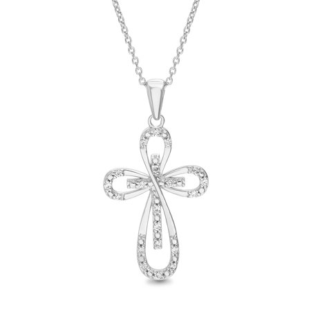 Lumineux 1/10 ct Diamond Loop Design Cross Pendant in Sterling Silver