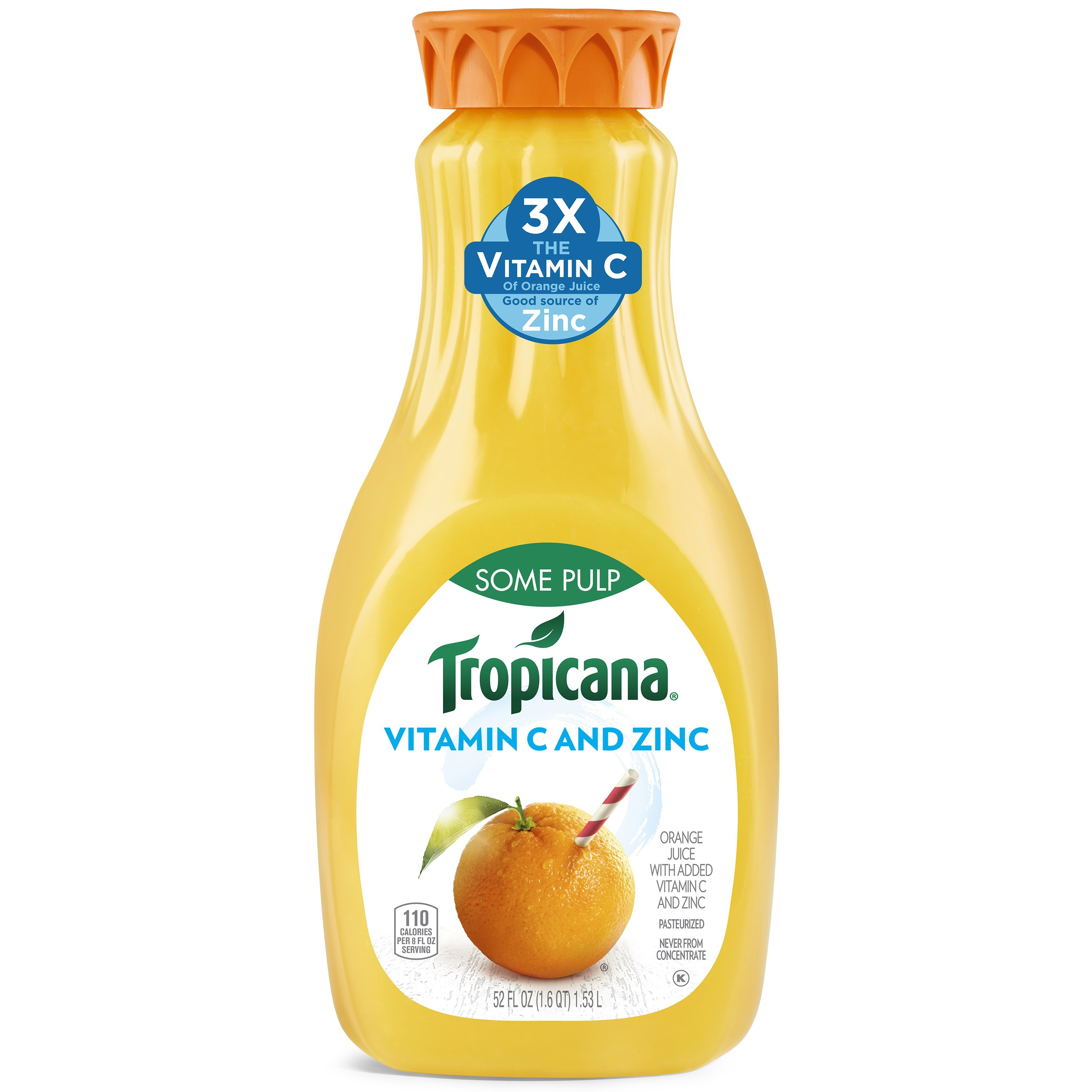 Tropicana Vitamin C and Zinc and Some Pulp Orange Juice, 52 Fl. Oz.