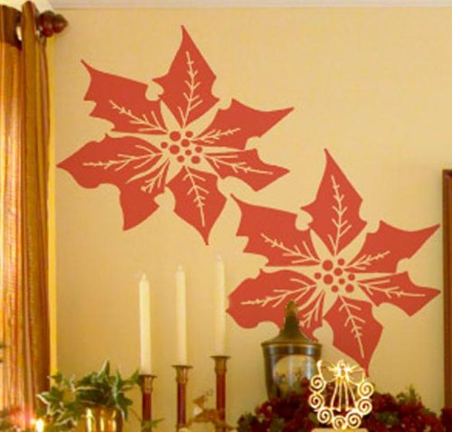 "POINSETTIA'S ~ Christmas WALL OR WINDOW DECAL, 13"" x 13"" LOT 2"