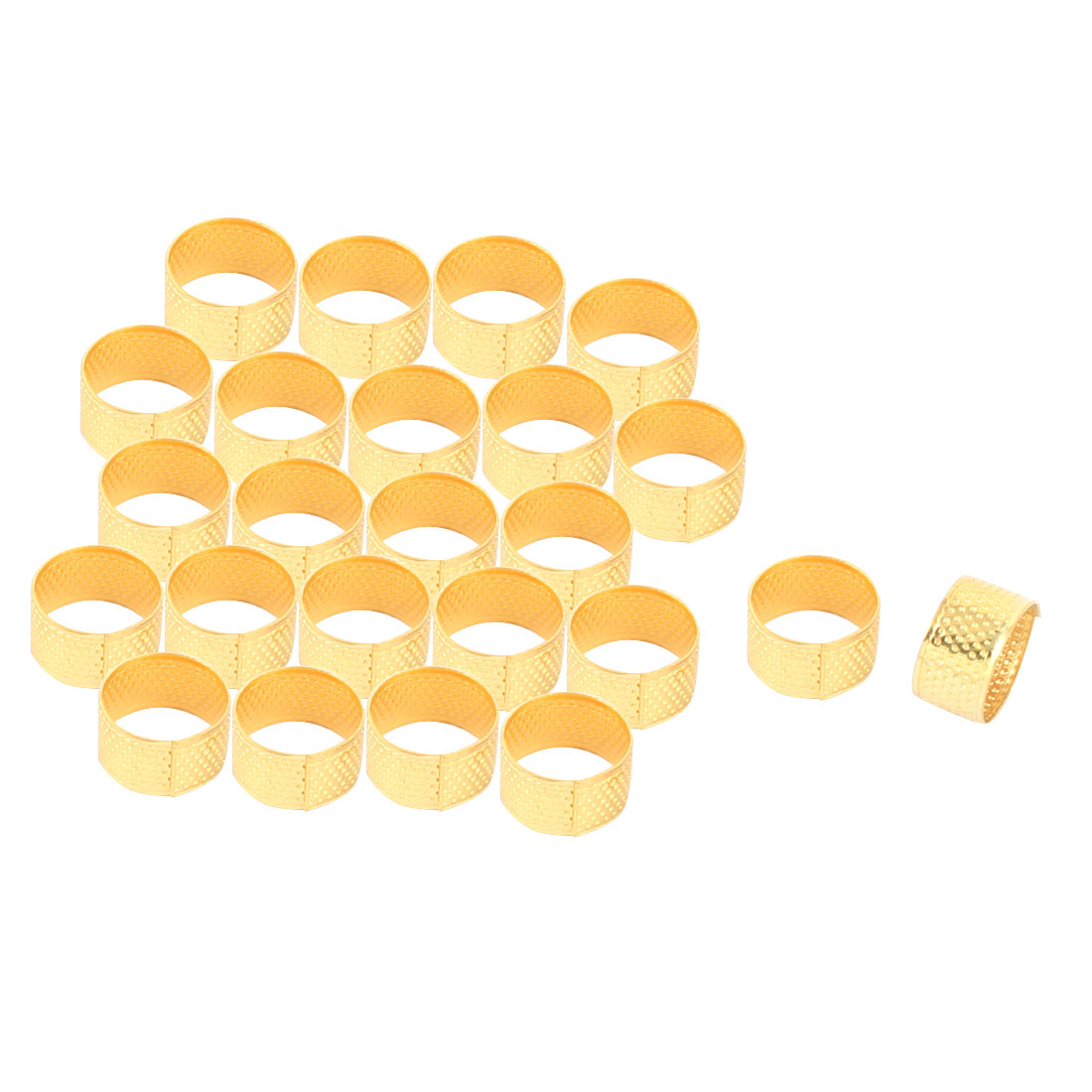 Metal Reeded Sewing Quilting Finger Protective Thimble Ring Gold Tone 24pcs