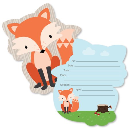 Fox - Shaped Fill-In Invitations - Baby Shower or Birthday Party Invitation Cards with Envelopes - Set of 12