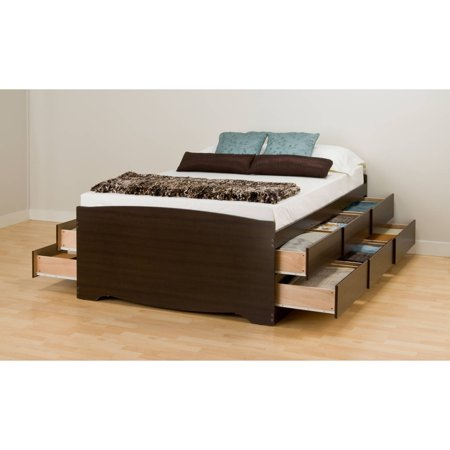 Prepac Tall Full Captains Platform Storage Bed Drawers Espresso