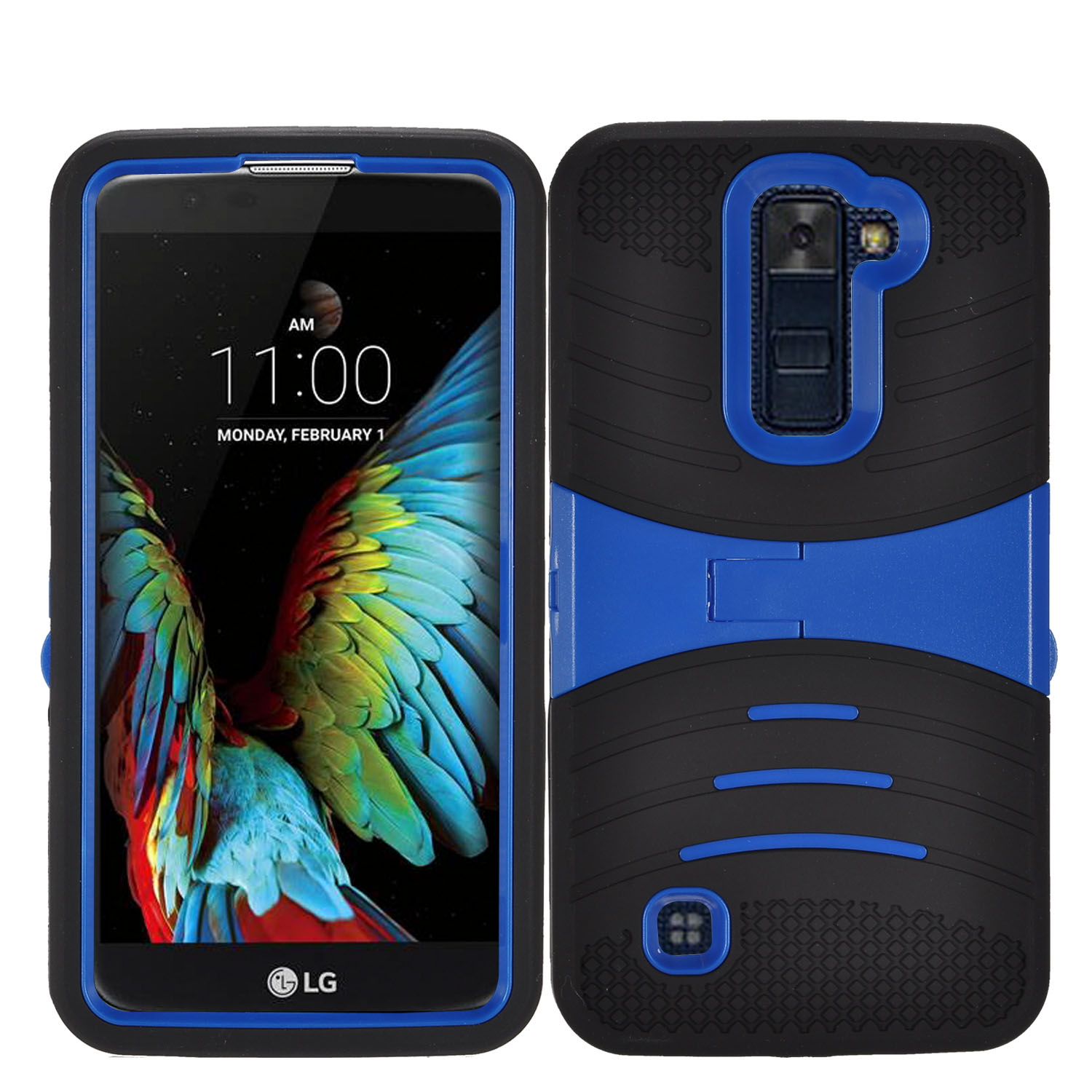 Zizo® UCASE for LG K10 Hybrid Dual Layer w/ Silicon Rugged Shell Protective Phone Case Cover w/ Kickstand