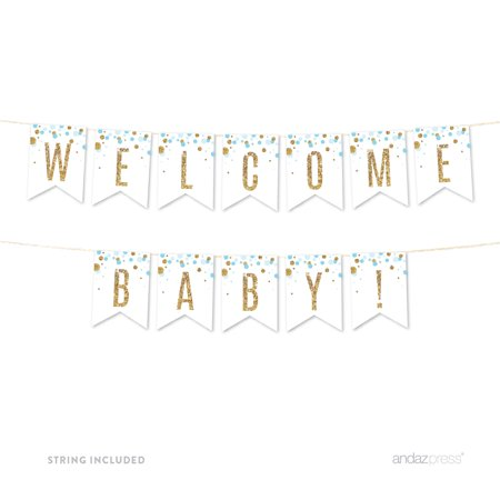 Baby Blue Gold Glitter Baby Shower Party Pennant Banner