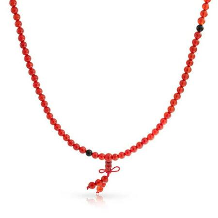 Orange Red Color Mala Prayer Long Bead Necklace For Women Wrap Stretch Bracelet For Women Yogi For Men](Prayer Log)