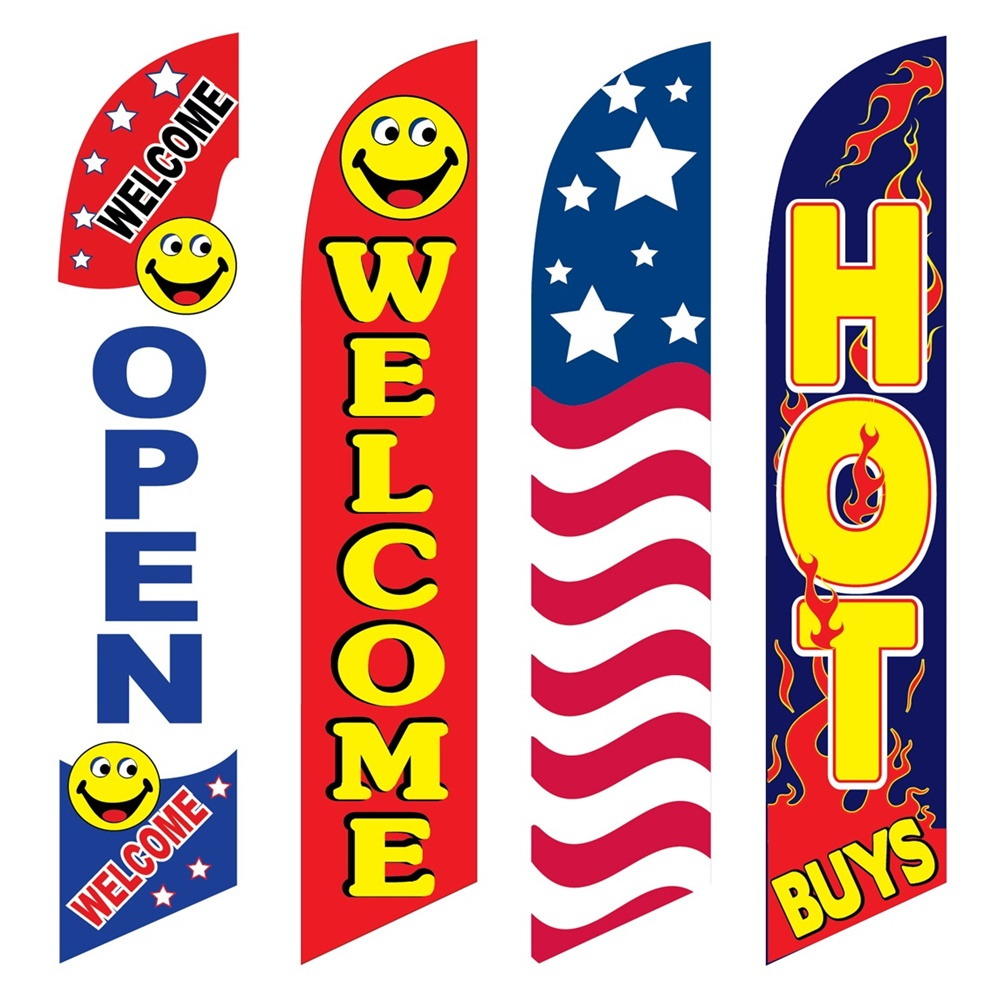 4 Advertising Swooper Flags Open Welcome USA Hot Buys
