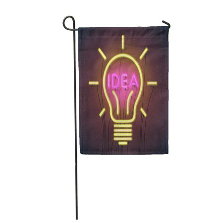 LADDKE Pink Neon of Successful Idea Inspired by Bulb Shape Garden Flag Decorative Flag House Banner 28x40 inch ()