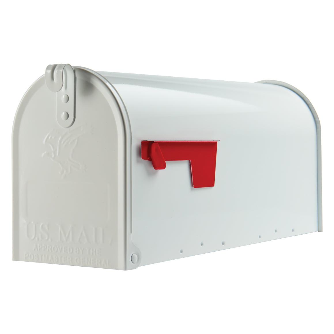 Gibraltar Elite Medium, Galvanized Steel, White Post Mount Mailbox
