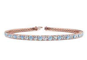 7.5 Inch 4 1 4 Carat Aquamarine And Diamond Tennis Bracelet In 14K Rose Gold by