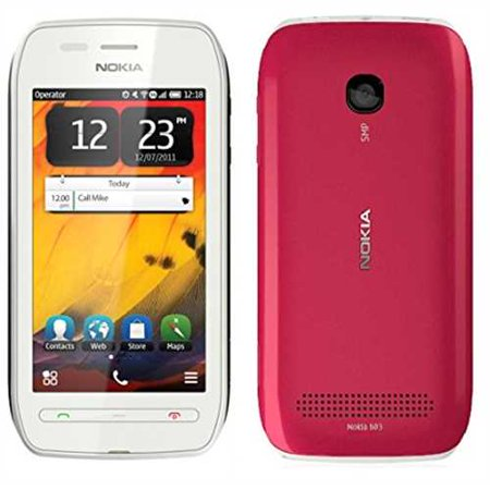 Refurbished Nokia 603 Cell Phone 2Gb  Unlocked    White Pink