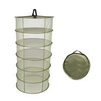 4 Layers Hanging Basket Folding Drying Rack Herb Dry Net Opening Shape Dryer Bag Mesh 600mm Diameter For Herbs Flowers Buds Plants