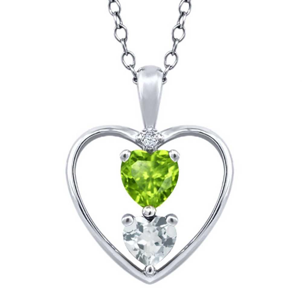 0.67 Ct Heart Shape Green Peridot Sky Blue Aquamarine Sterling Silver Pendant