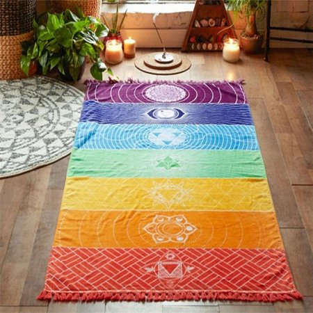 70*150cm Rainbow Stripes Scarf Wall Art Blanket Colored Tapestry Summer Boho babytowel Beach Towel Yoga Mat (Colored Tapestry)