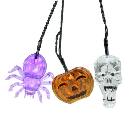 Set of 90 Battery Operated Skull, Spider and Jack-o-Lantern LED Halloween Lights - Black Wire - image 2 of 2