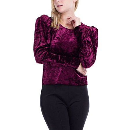 - Womens Fashion Velvet Long Sleeve Puff Shoulders Top HDT9609-S-Burgundy
