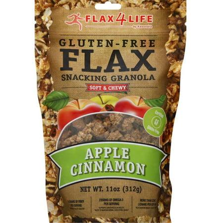 Flax4Life Gluten Free Flax Apple Cinnamon Snacking Granola, 11 oz, (Pack of 6)