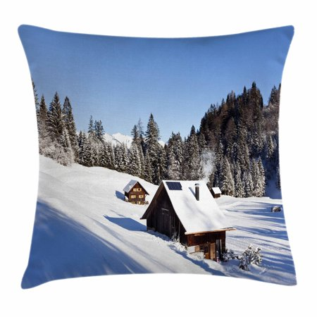 Winter Throw Pillow Cushion Cover  Log Cabins In The Mountains Sunny Winter Day Rural Scene Holiday Vacation  Decorative Square Accent Pillow Case  20 X 20 Inches  Blue Brown White  By Ambesonne