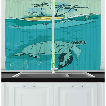 Ocean Curtains 2 Panels Set, Sea Turtle Swimming Coral Reef Exotic Island Underwater Life Illustration, Window Drapes for Living Room Bedroom, 55W X 39L Inches, Turquoise Teal Green, by Ambesonne