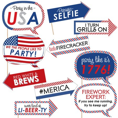 Funny 4th of July - Independence Day Photo Booth Props Kit - 10 Piece](4th Of July Photo Booth Props)