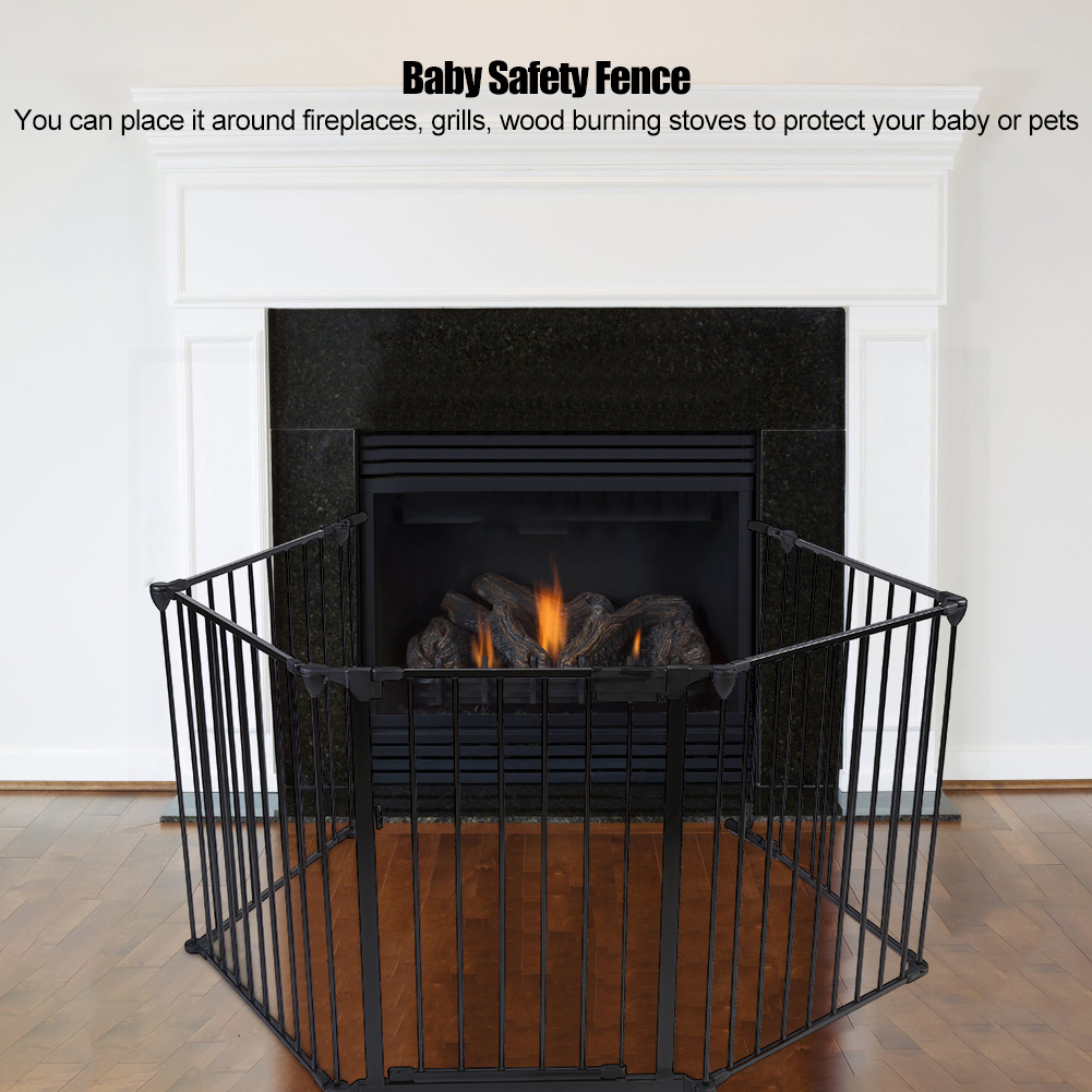 Pet Safety Gate,Metal Safety Gate Fireplace Stove Fence Protection Doors for Baby Toddlers Kids Pets by EECOO
