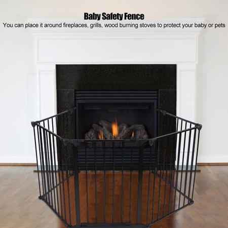 Tbest Metal Safety Gate Fireplace Stove Fence Protection