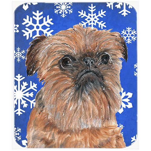 The Holiday Aisle Brussels Griffon Rectangle Snowflake Glass Cutting Board