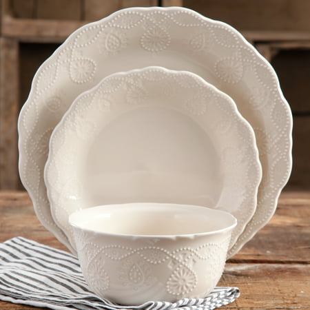 The Pioneer Woman Cowgirl Lace 12-Piece Dinnerware Set, Linen (Dinner Set 72 Pieces)