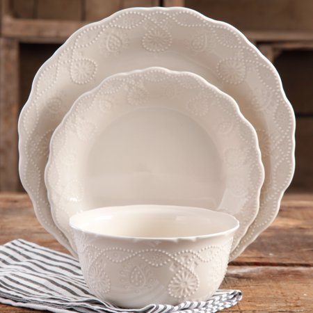 China Platinum Dinnerware Set (The Pioneer Woman Lace 12-Piece Dinnerware Set, Walmart Exclusive)