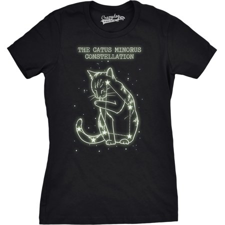 Womens The Catus Minorus Constellation Glow In The Dark T Shirt Funny Cats Tee](Glow In The Dark Skirt)