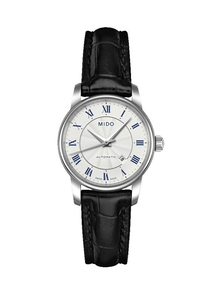Men's Baroncelli II 29mm Black Leather Band Steel Case Automatic White Dial Analog Watch M7600.4.21.4
