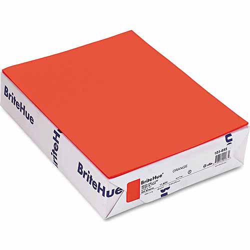 "Mohawk BriteHue Multipurpose Colored Paper, 24 lb, 8.5"" x 11"", Orange, 500 Sheets/Ream"