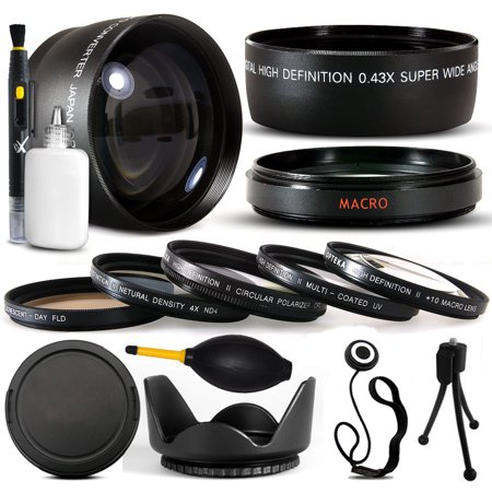 10 Piece Ultimate Lens Package For Sony Cybershot DSC-RX10 HVR-V1U HVR-V1N HDR-FX7 HVR-V1N Camera Includes .43x Macro Fisheye + 2.2x Extreme Telephoto Lens + Pro 5 Piece Filter (Sony Dsc Qx10 Smartphone Attachable Lens Style Camera)