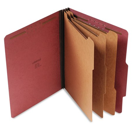 Universal Pressboard Classification Folder, Letter, Eight-Section, Red, 10/Box -UNV10290