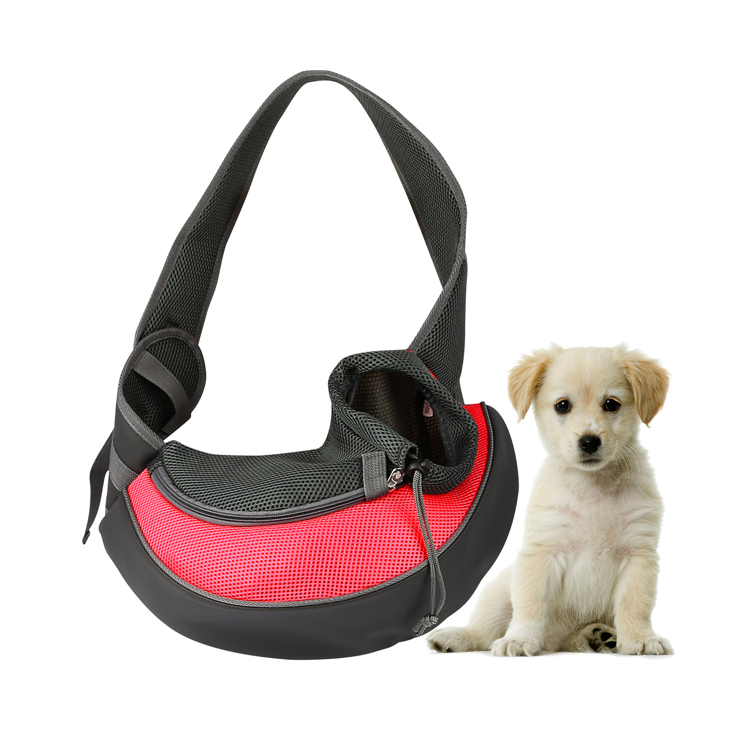 Pet Puppy Carrier Sling Hands-Free Shoulder Travel Bag. Great For Walking Your Pet. Dog Cat Pet Puppy Outdoor Reversible Pouch Mesh Shoulder Carry Bag Tote Handbag Carrier- (Red/Large)