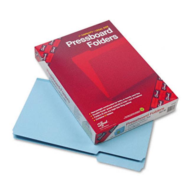 Smead 22530 Recycled Pressboard Folders  1 inchExpansion  1/3 Cut  Top Tab  Legal  Blue  25/Box